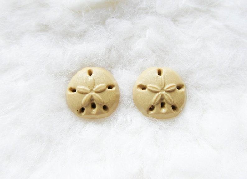 Sand Dollar Earrings Polymer Clay Sea Cookie Sand Dollar Nautical Beach Earrings Sand Dollar Studs
