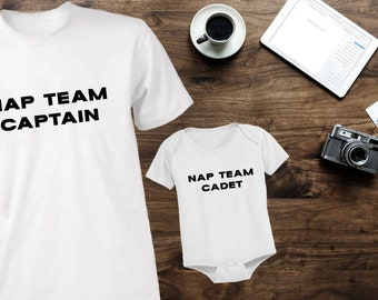 acba4e6db Dad and son matching t-shirts tees tops shirts for father and son dad baby  mathing t-shirts tees tops shirts set nap team captain and cadet