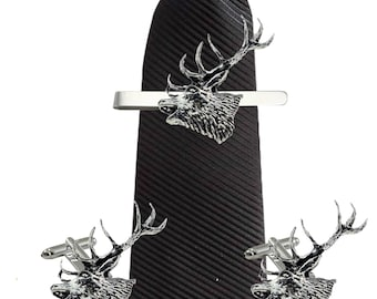be69ece282ed a53 Red Stag Head 3.4cm X 3.4cm Cufflinks Tie slide or the set lead free English  Pewter handmade in Sheffield uk