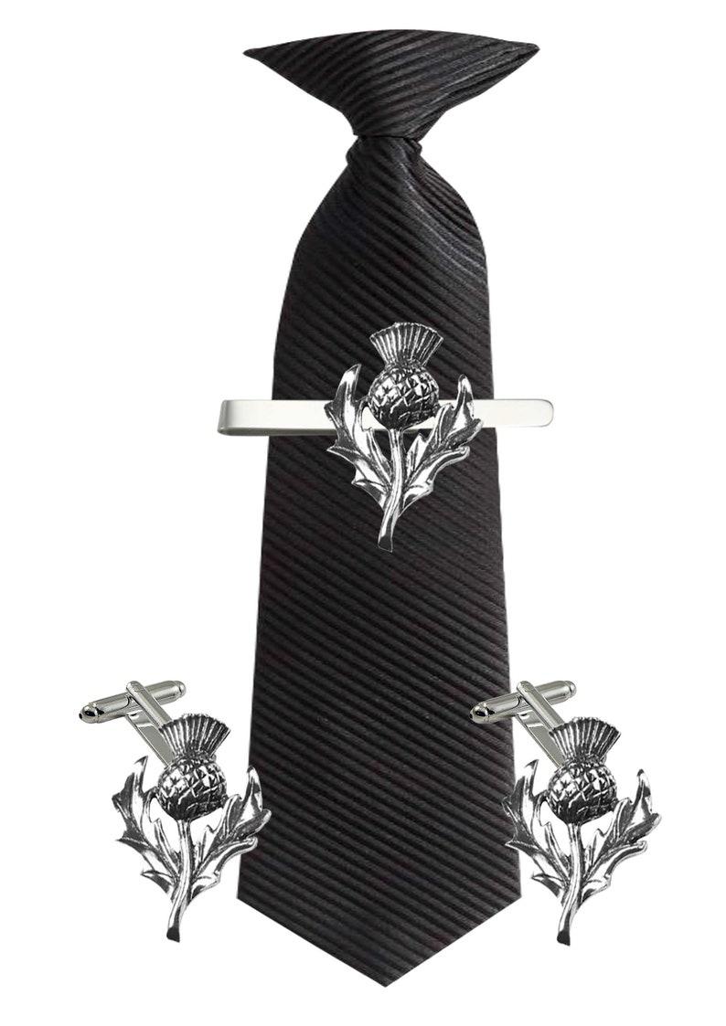 WA352 Scottish Thistle 2.2cm X 3.2cm Cufflinks Tie slide or the set lead free English Pewter handmade in Sheffield uk