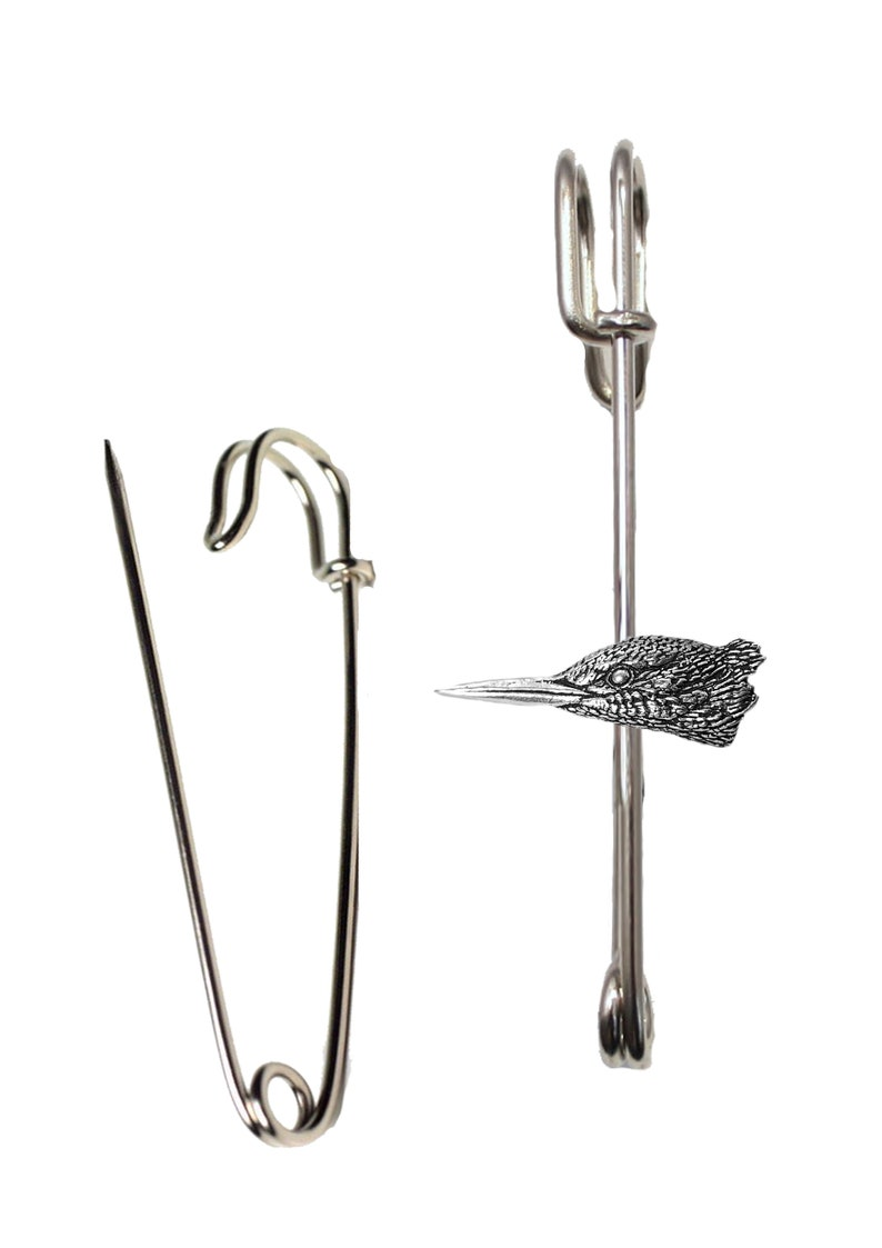 lead free English Pewter handmade in Sheffield uk AR1 Hats etc Kingfisher Head 1 on a 3 inch Kilt Pin  Brooch for Scarves