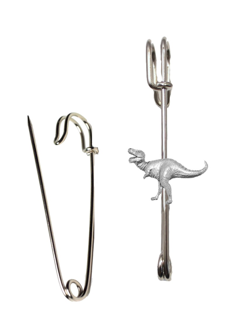 Hats etc lead free English Pewter handmade in Sheffield uk Q131 Tyranosaurus on a 3 inch Kilt Pin  Brooch for Scarves