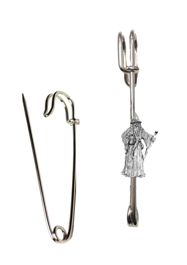 Hats etc lead free English Pewter handmade in Sheffield uk Q309 Wizard on a 3 inch Kilt Pin  Brooch for Scarves