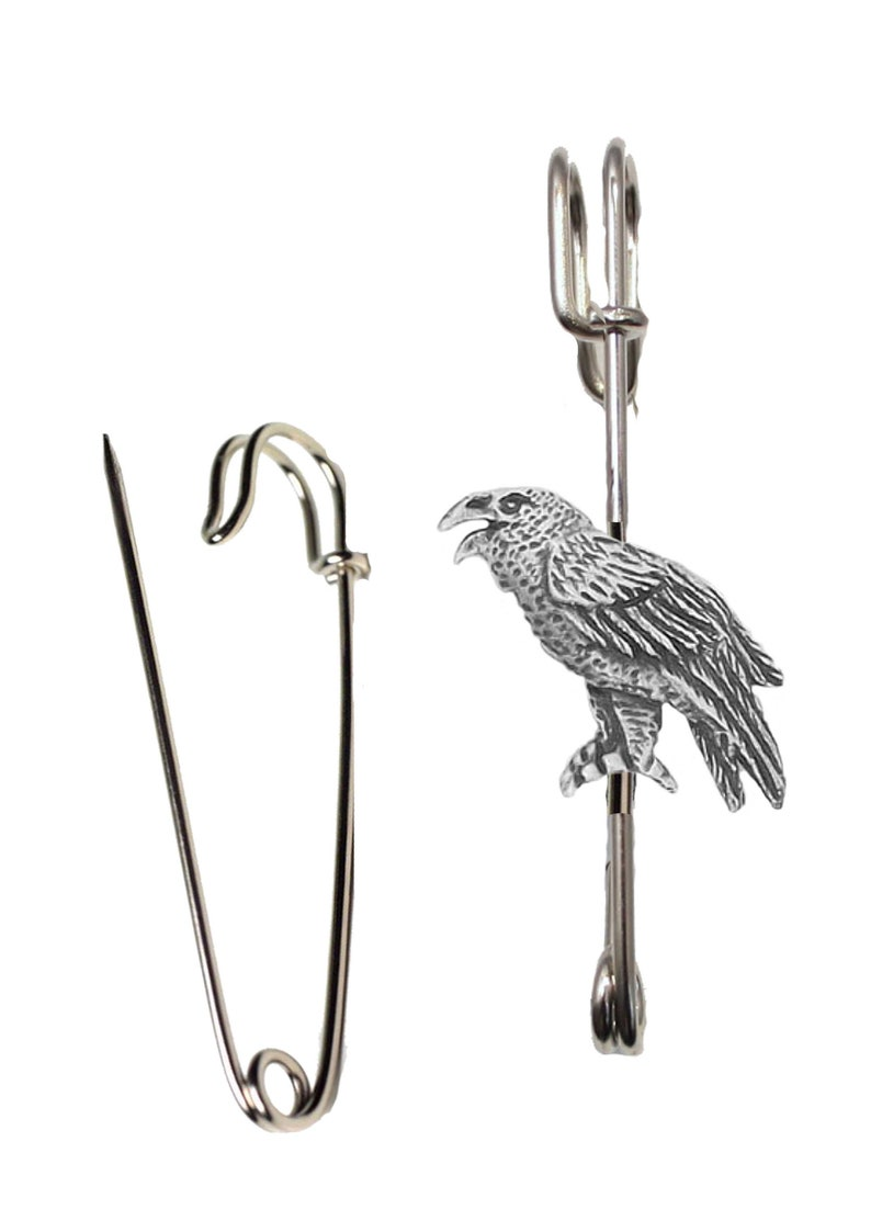 DR31 Raven 2.5cm X 2.2cm on a 3 inch Kilt Pin  Brooch for Scarves lead free English Pewter handmade in Sheffield uk Hats etc