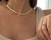 18K Gold Reptile Snake Chain Necklace, Water and tarnish resistant necklace