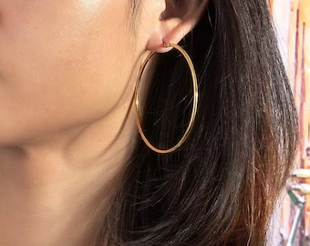 Small earrings pauline Creole plated gold and coral orange.