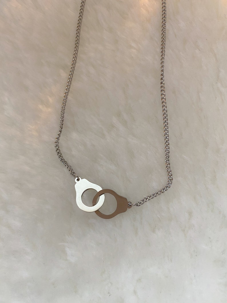 stainless steel handcuffs pendant necklace handcuffs necklace silver handcuffs FREEDOM necklace