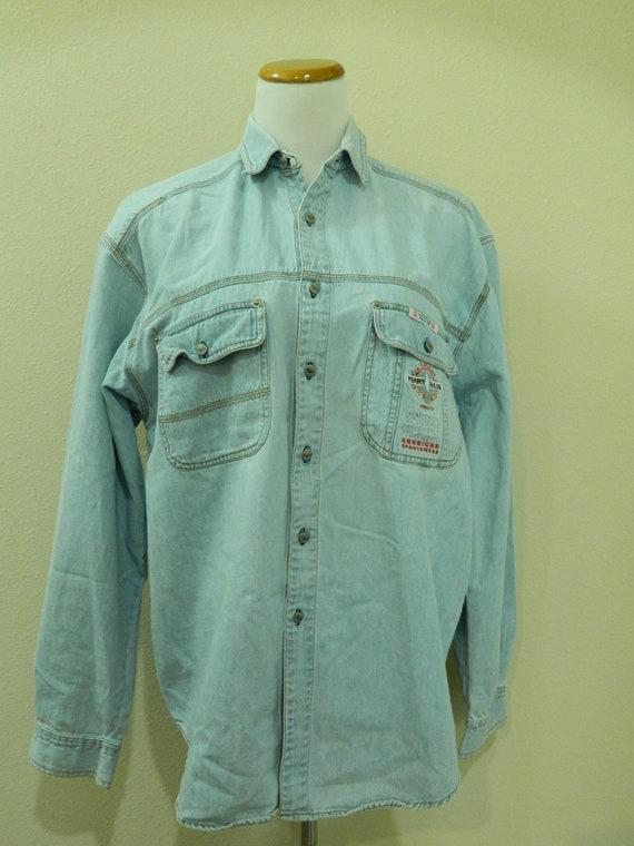 America Perry Ellis Denim Shirt Men's M