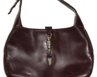 2f8703ff963 1960s Vintage Gucci Jackie Leather burgundy Handbag