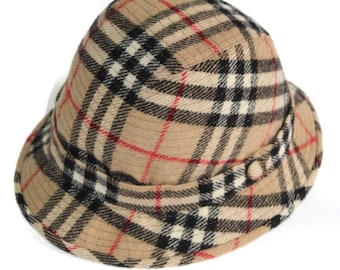 2bffb9e16d01a Burberrys Vintage Bucket Check Wool Hat