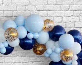 1st Birthday Balloon Garland Kit Boy First Shades Of Blue And Navy Arch Balloons Tassel
