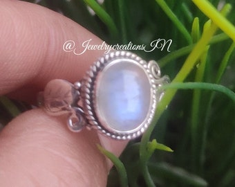 Handmade Ring For Woman\u2019s Anniversary Gift Her Ring Meditation Ring Statement Ring Natural Moonstone Ring B178 925 Sterling Silver