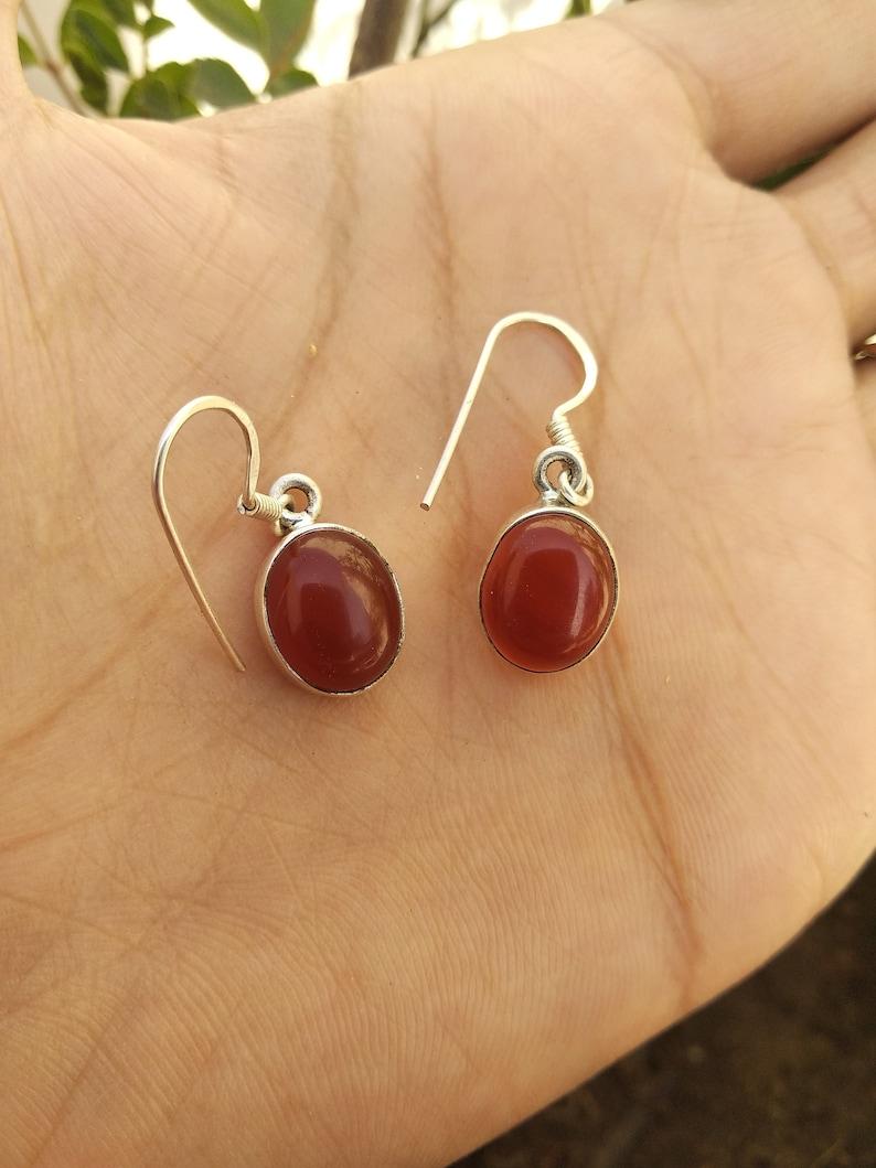 6bdf85c6efb50 Carnelian Earring ,Sterling Silver Earring, Dangle & Drop Earring, Orange  Stone Earring, Mermaid Gift ,August Birthday, Classic Earring Her