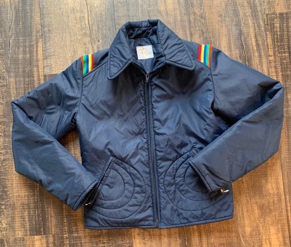 1970s 1980s Rainbow Women's Ski Jacket Roffe size