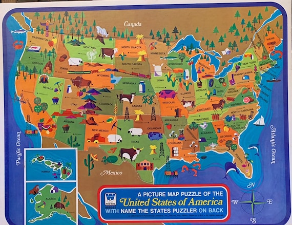 Vintage 1960s Map Puzzle of the United States