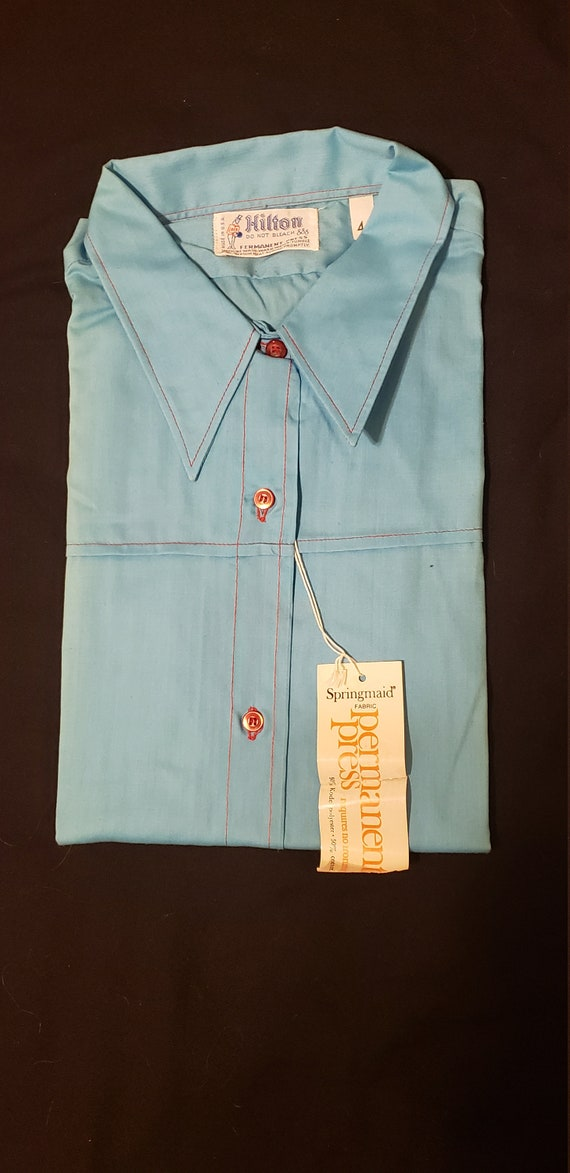 Vintage Hilton bowling shirt---Baby Blue with red