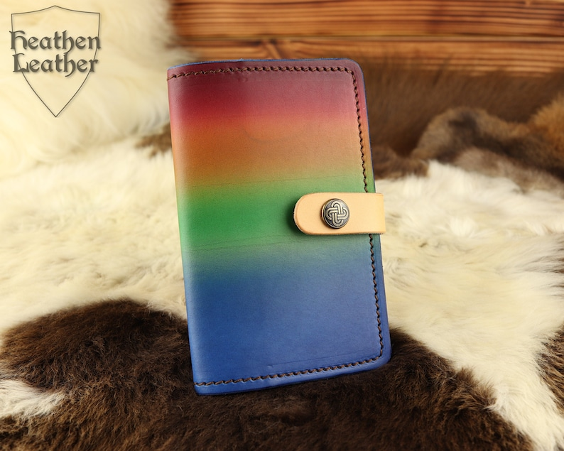 Rainbow leather cover A6 for notebooks and sketchbooks snap image 0