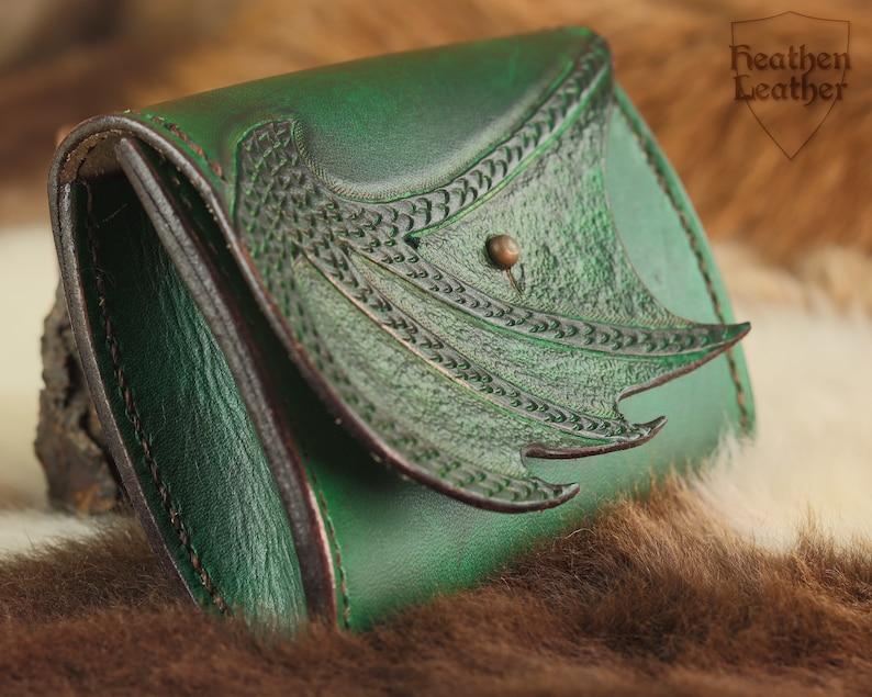 Green mini leather bag with dragon wing purse tampon bag image 1