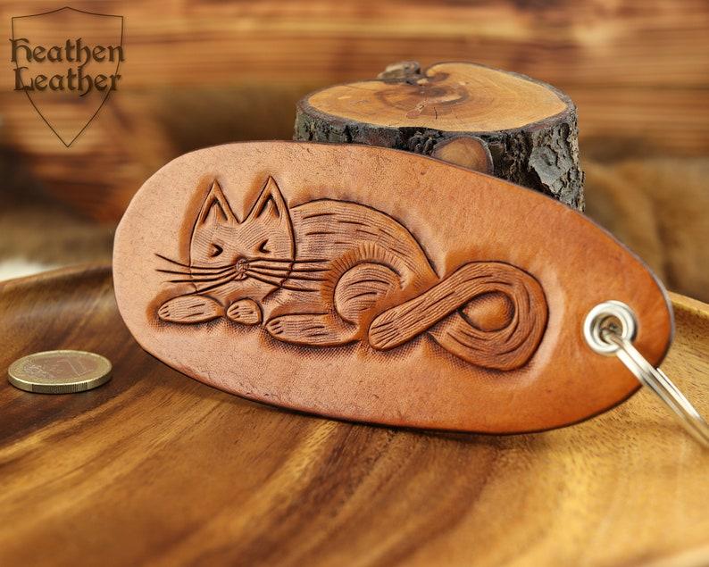 Large leather pendant . . . . . . . . . . . Cats Keychain image 0