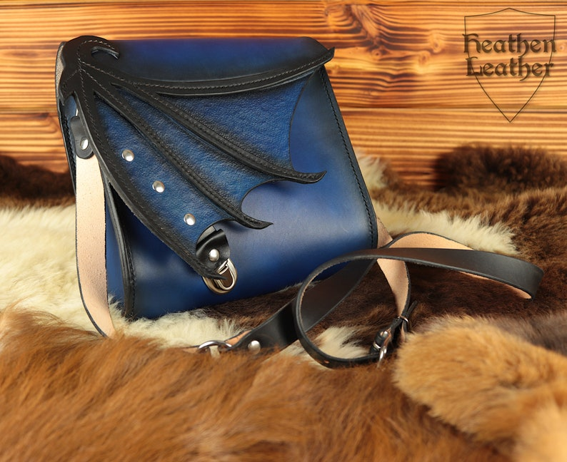 Blue black leather bag with dragon wings crossbody bag image 0
