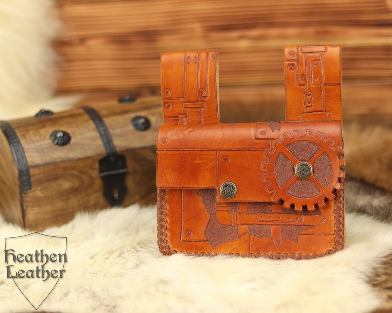 Small leather belt bag punched braided unique 100% image 0