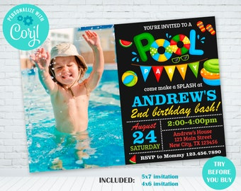 Pool Party Birthday Invitation Photo Invite Boy With Picture Swimming Instant Download Template