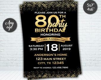 Gold Birthday Invitation 80th For Women Men Invite Her Adult Confetti