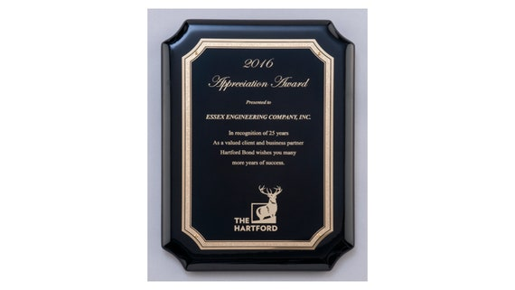 High Gloss Black Stained Plaque with Gold Florentine Border Plate with Optional Custom Engraving Engraved Plaque Award Recognition Award