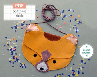 Bear bag. PDF patterns + tutorial (INSTANT download). English and Spanish texts.