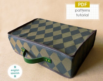 Fabric suitcase. PDF PATTERNS + tutorial (INSTANT download). English and Spanish texts.