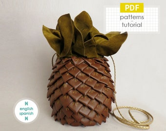 Pineapple crossbody bag. PDF PATTERNS + tutorial (INSTANT download). English and Spanish texts.