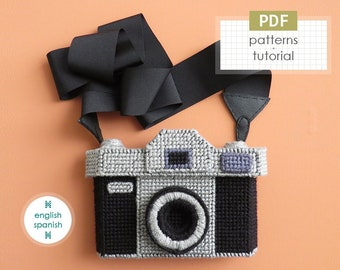 Camera bag. PDF PATTERNS + tutorial (INSTANT download). English and Spanish texts.