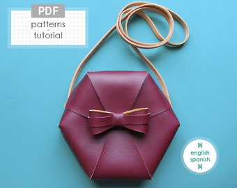 No sew hexagonal crossbody bag. PDF PATTERNS + tutorial (INSTANT download). English and Spanish texts.