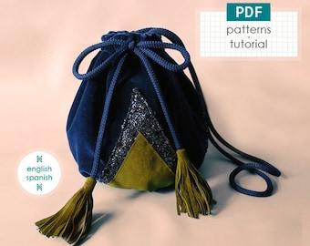 Velvet crossbody sac bag. PDF PATTERNS + tutorial (INSTANT download). English and Spanish texts.