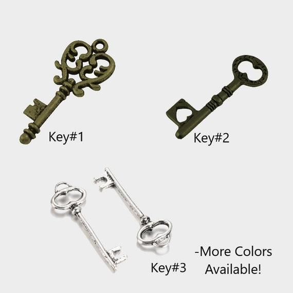 3 Skeleton Key Pendants Antiqued Silver Keys Steampunk Barrel Keys 41mm