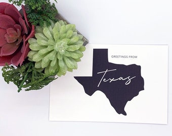 Greetings from Texas - Texas Postcard, Texas Greeting Card, Stationery Cards, Greeting From States, Cardstock Greeting Cards, High-Quality
