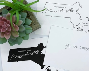 Greetings from Massachusetts - Massachusetts Postcard, Massachusetts Greeting Card, Stationery Cards, Greeting From States, Small Gifts