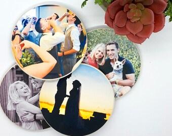 Custom Coasters Set, Personalized Coasters, Ceramic Coasters, Cork Coasters, Photo Coasters, First Anniversary Gift for Couple, Housewarming