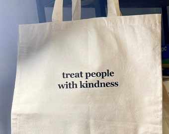 Treat People With Kindness Tote Bag - Custom Tote Bag, Rose Gold, Rose Gold Text, Fashion Bag, Reusable Bag, Grocery Bag, Be Kind, Shopping