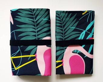 Waterproof diaper changing mat, 2 layers waterproof travel chganging pad, Flamingo portable changing pad, Tropical pattern, Washable