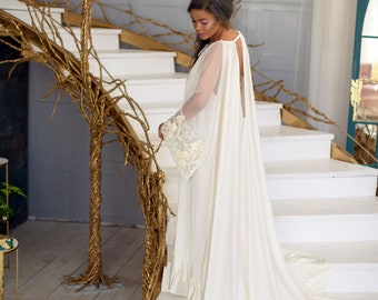 f0b729949e9b Long Ivory Wedding Gown With 3D Sleeves, Long Bridal Boudoir Tail Lingerie,  Maxi Wedding, Bridal Nightgown, Wedding Lingerie