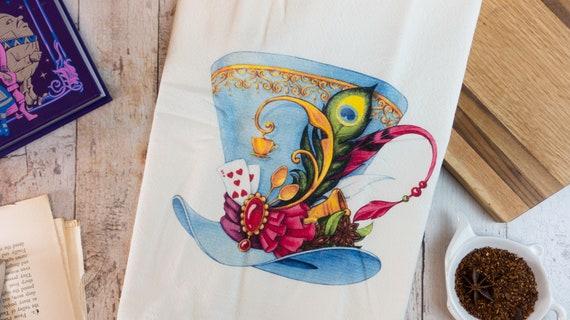 Mad Hatter Tea Towel, Alice in Wonderland Kitchen Flour Sack Tea Towel, Tea  Cup Towel