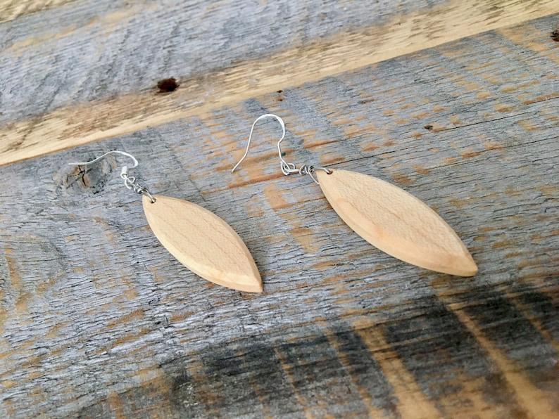 unique jewelery for her classic earrings beachy Wood surfboard shaped dangle earrings gorgeous maple wood ocean jewelry wood earrings