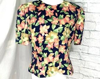 81d6ea940a3de2 Adrianna Papell Vintage 80 s Top Jacket Silk