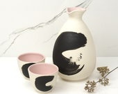 Sake Set Bottle and 2 Cups. Porcelain Handmade Japanese Lines Black Celery Drinks Pouring Brooklyn NYC Pottery