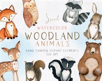 Woodland Animals Clipart, Watercolor Woodlands Clipart, Watercolor Fox Bear Deer Owl Bunny Skunk Raccoon Squirrel, Nursery Wall Art