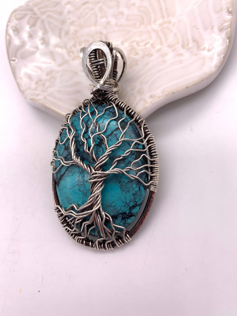 Handmade Spiderweb Turquoise /& Sterling Silver Tree of Life pendant STL338