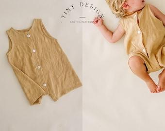 Easy Baby & Kids Romper PDF Sewing Pattern /  Jumpsuit  Pattern / Baby Boy Romper / Cute Girls Romper Pattern / PDF Pattern / Linen Romper
