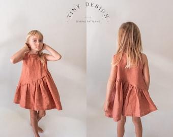 Asymmetric Smock Dress PDF sewing pattern / Easy Pattern /  Newborn to 12 years / Beginner Pattern / Girls Patterns / Toddler dress