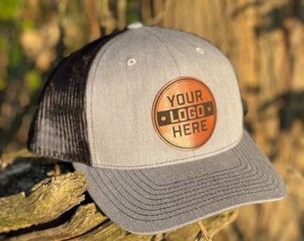 Custom Leather Patch Hat | Leatherette | Trucker Style | Snap Back |